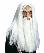 Witte tovenaar masker met pruik snor en baard