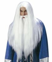 Witte tovenaarspruik voor volwassenen