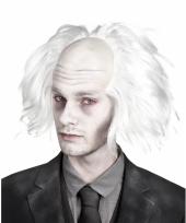 Witte zombie pruik voor heren