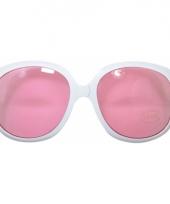 Witte zonnebril groot met roze glazen