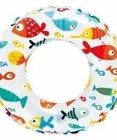 Witte zwemband met visjes 51 cm