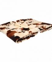 Woondecoratie fleece deken kleed wi met koeienprint 130 x 170 cm 10093155