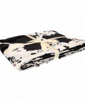 Woondecoratie fleece deken kleed wi met koeienprint 130 x 170 cm