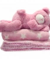Woondecoratie fleece deken kleed wi met sterretjes 75 x 75 cm