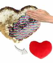 Woondecoratie hartjes kussens goud rood metallic met pailletten 30 cm