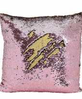 Woondecoratie kussens roze goud metallic met pailletten 40 cm