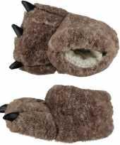 Zachte dieren pantoffels monsterpoot beige voor kids