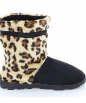 Zachte hoge sloffen voor dames luipaard bruin