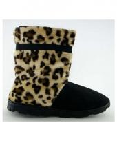 Zachte hoge sloffen voor meisjes luipaard bruin
