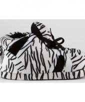 Zachte sloffen voor dames zebra zwart wit