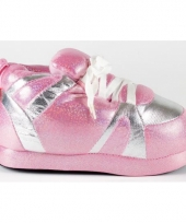 Zachte sloffen voor meisjes roze zilver