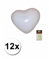 Zak witte hartjesballonnen 12 stuks
