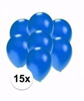 Zakje 15 metallic blauwe party ballonnen klein