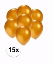 Zakje 15 metallic gouden party ballonnen klein