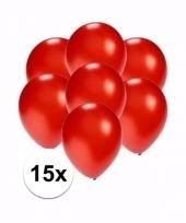 Zakje 15 metallic rode party ballonnen klein