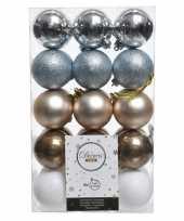 Zilver bruin witte kerstboomballen set 6 cm