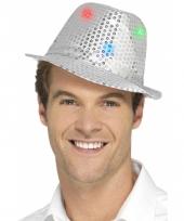 Zilver glitter hoedje met led verlichting