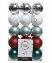 Zilver groen rode kerstboomballen set 6 cm