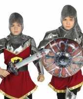 Zilver opblaasbaar schild met zwaard 10099569