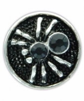 Zilveren chunk met spin zwart 1 8 cm