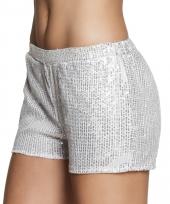 Zilveren dames hotpants met pailletten