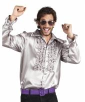 Zilveren disco blouse voor heren