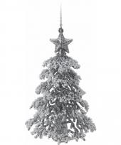 Zilveren glitter kerstboom 16 cm