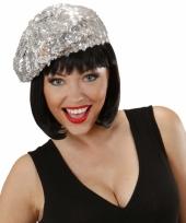 Zilveren glitter muts voor dames