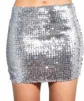 Zilveren glitter pailletten disco rokje dames