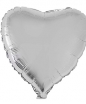 Zilveren hartjes folieballonnen 52 cm
