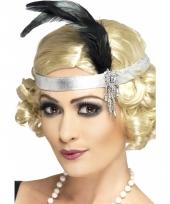 Zilveren hoofdband satijn met veer