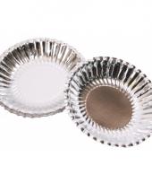 Zilveren kartonnen bakjes 16 cm