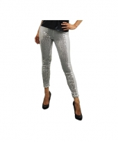 Zilveren leggings met pailletten