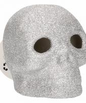 Zilveren schedel met glitters en led verlichting 9 cm