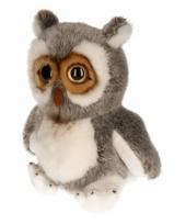 Zittend uiltje knuffel grijs wit 32 cm