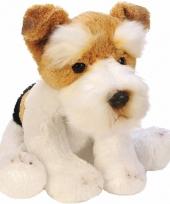 Zittende fox terrier wit bruin knuffel 13 cm