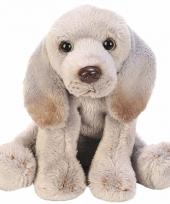 Zittende grijze weimaraner knuffel 13 cm
