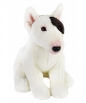 Zittende hond knuffel zwart witte bull terrier 23 cm