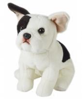 Zittende hond knuffel zwart witte franse bulldog 23 cm