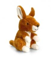 Zittende kangoeroe knuffel pluche14cm