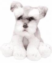 Zittende schnauzers wit grijs knuffel 13 cm