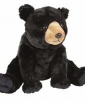 Zittende zwarte beer knuffels 30 cm