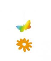 Zomer decoratie bloem en vlinder
