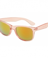 Zonnebril roze met doorzichtig frame