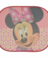 Zonwerend autoscherm minnie mouse roze 2 stuks