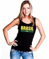 Zwart brazilie supporter singlet-shirt tanktop dames