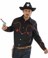 Zwart cowboy overhemd met rode afwerking