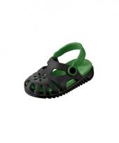 Zwart groene kids waterschoen sandalen met bloemetje