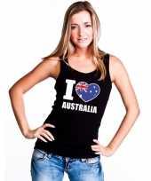Zwart i love australie fan singlet-shirt tanktop dames