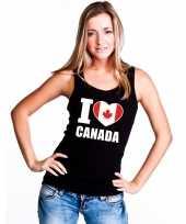 Zwart i love canada fan singlet-shirt tanktop dames
